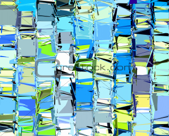 abstract fragmented pattern in blue yellow green