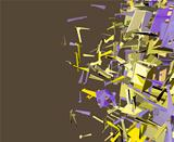 abstract fragmented cube pattern purple yellow backdrop 