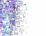 abstract fragmented pattern in purple blue on white