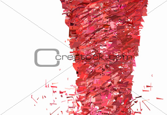 abstract red pink tornado whirlwind on white