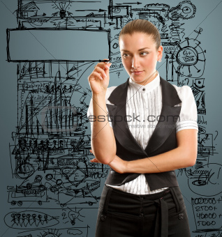 businesswoman writing something
