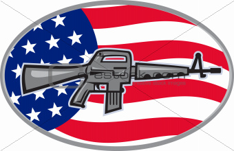 Armalite M-16 Colt AR-15 assault rifle flag