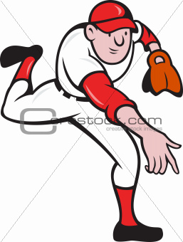 Baseball Player Pitcher Throwing Cartoon