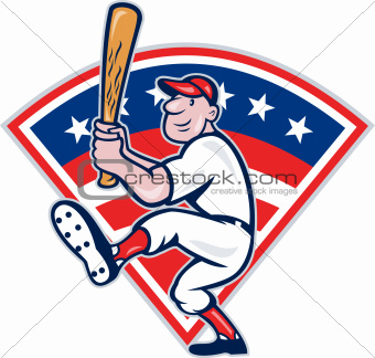 American Baseball Player Batting Cartoon