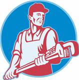 Plumber Worker Monkey Wrench Retro