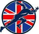 Runner Sprinter Start British Flag Circle