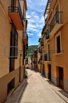 Streeets of the small spanish town Benassal. Day sunny time.