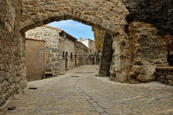 Streets of the small old spanish town Ares.
