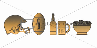 american football helmet ball beer chips golden metallic