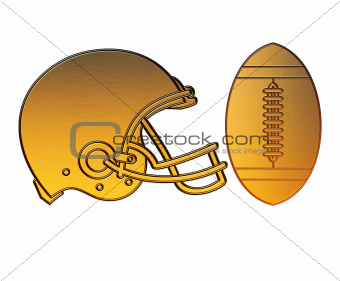 american football helmet ball golden metallic