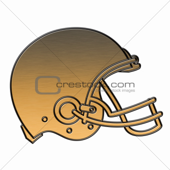 american football helmet golden metallic