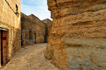 Landscape with old spanish town Ares.