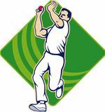 Cricket Bowler Bowling Ball Front