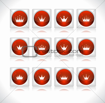 Buttons with crowns. Vector.