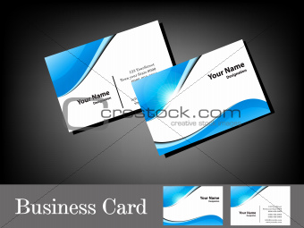 abstract glossy blue business card