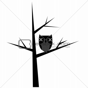 Abstract tree with stylized owl