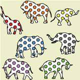 Background for kids with dotted elephants