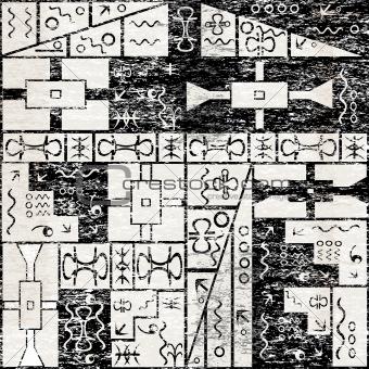 Grunge background with African motifs
