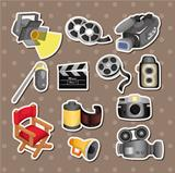 cartoon movie equipment icon set