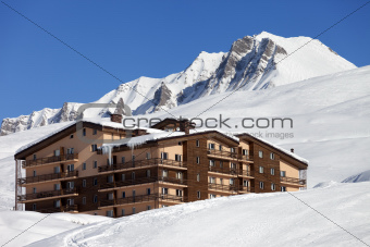 Hotel in winter mountains