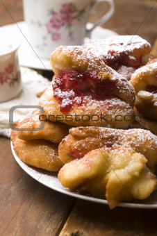 Sweet doughnuts with rose marmelade