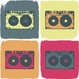 Audio cassette pop-art concept. Vector, EPS8