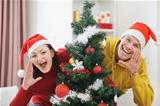 Young couple having fun Christmas time