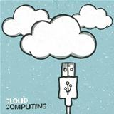 Cloud computing concept illustration, usb cabel and clouds icons