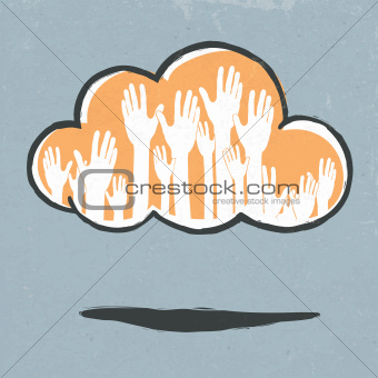 Cloud hands. Hand-drawn vector illustration, EPS10.