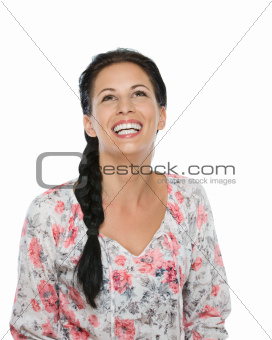 Portrait of laughing girl isolated on white