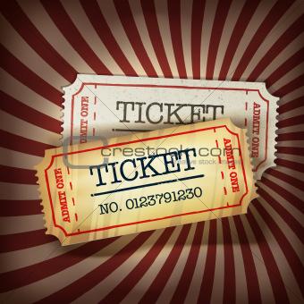 Golden and regular tickets concept illustration. Vector, EPS10