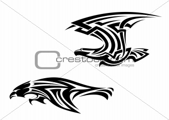 Tribal birds tattoos and mascots