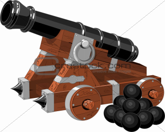 Old pirate ship cannon