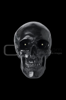 Black skull with glowing eyes