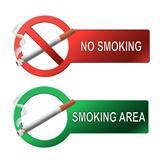 The sign no smoking and smoking area.