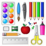 Set of School Tools and Supplies.