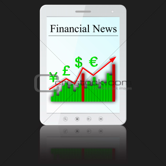 Financial News on white tablet PC computer