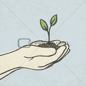 Hands with green sprout and dirt heap. Hand-drawn vector illustr