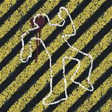 Murder Silhouette on yellow hazard lines. Accident prevention or