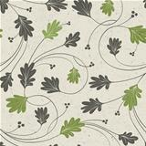 Oak leaves stylized seamless pattern, vector.
