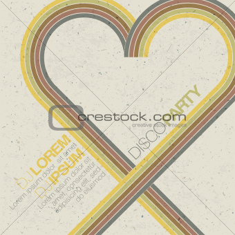 Vintage disco party invitation with heart shaped lines. Abstract