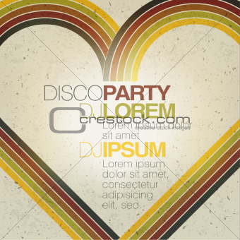 Retro disco party flyer design template. Vector, EPS10