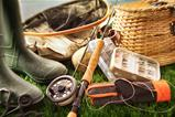 Fly fishing equipment on grass