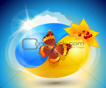 Autumn. Eco-icon with nature yin-yang