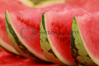 Arranged slices of watermelon