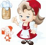 Cute blond young beergirl in red dirndl is showing thumbs-up