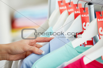 Looking through clothes