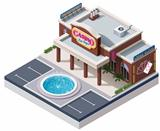 Vector isometric casino building