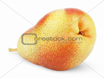 Ripe red yellow pear fruit on white