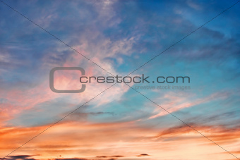 Sunset with multicolor clouds